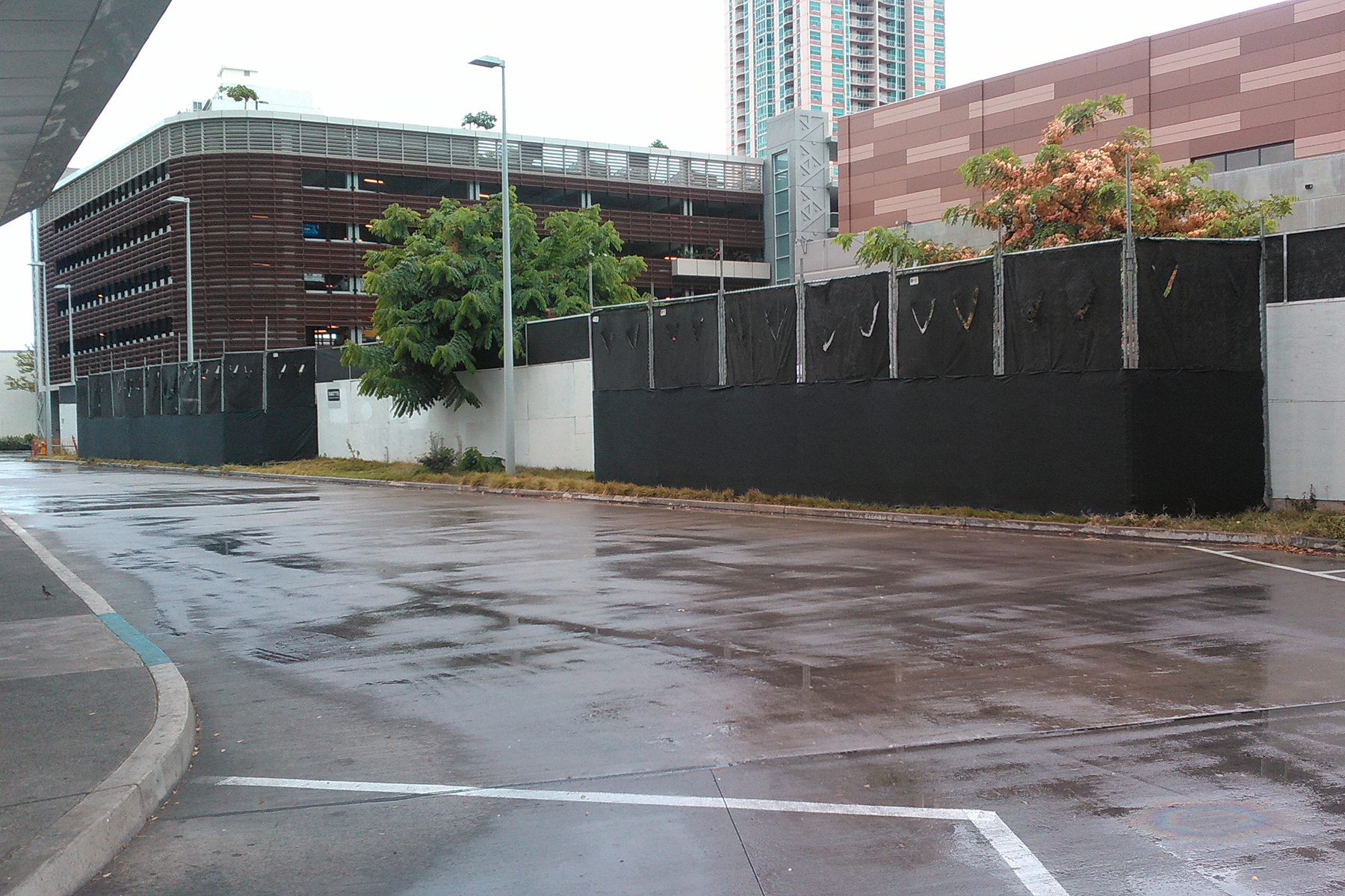 Temp Fence With Black Dust Cloth Allied Security Fence